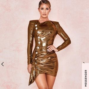 House of CB GOLD METALLIC LAME DRAPE DRESS